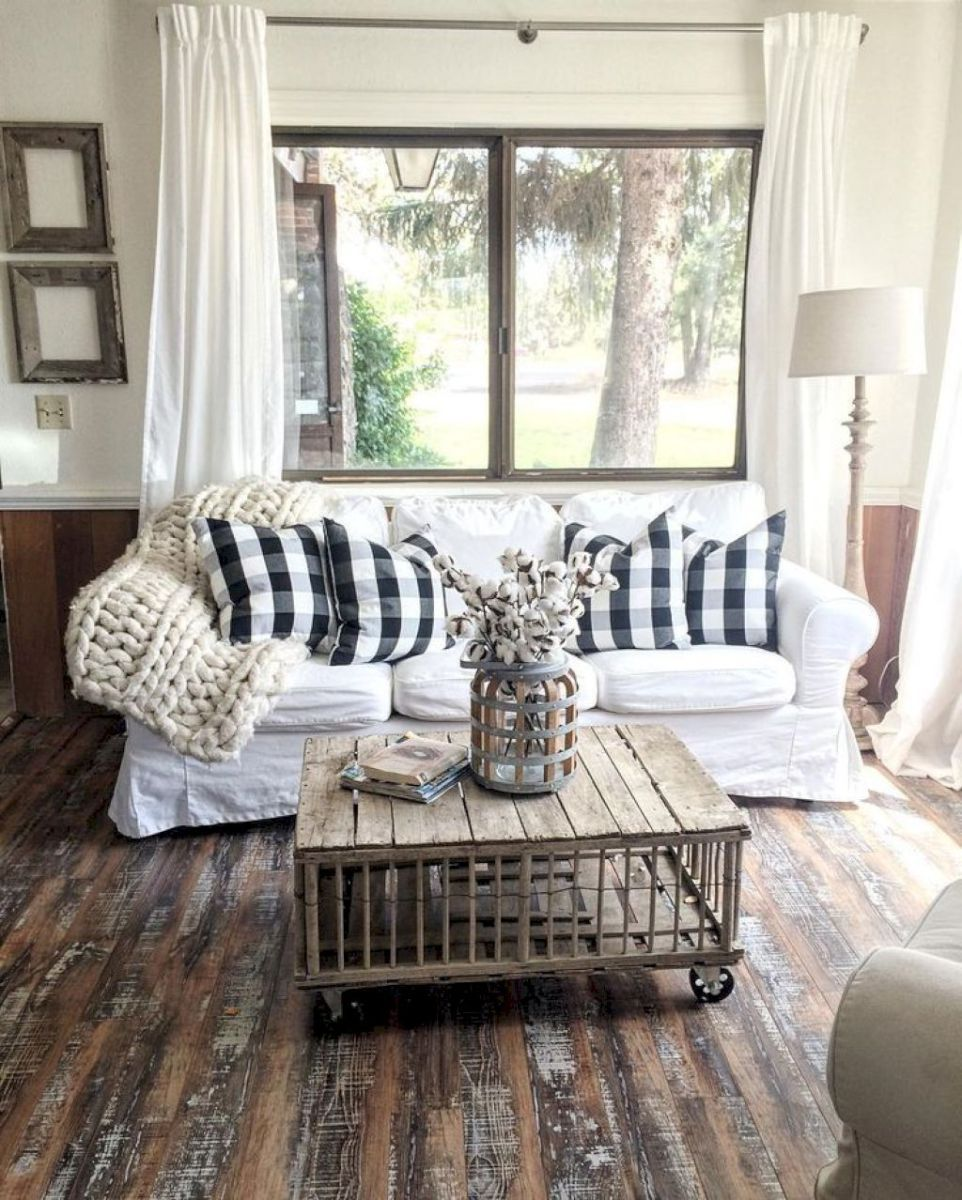 46 Rustic Farmhouse Living Room Decor Ideas With Images Modern