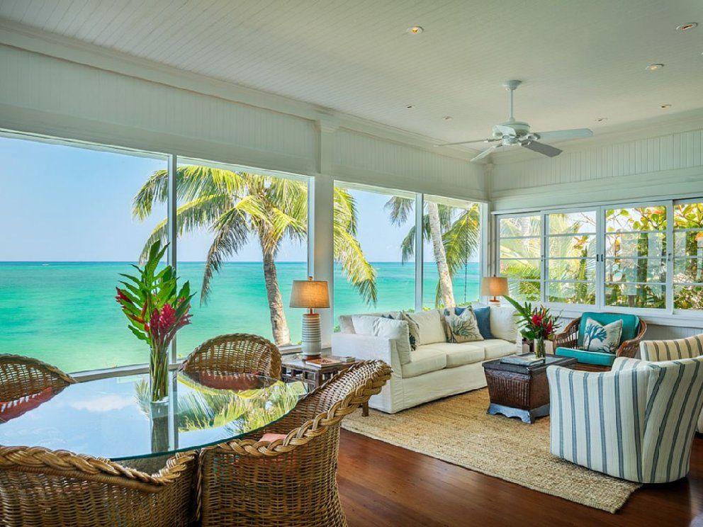 Walker S Lanikai Beach House 90 Tvu 0042 Kailua Vacation Rental In 2020 Luxury Beach House Beach House Design Beach House Living Room