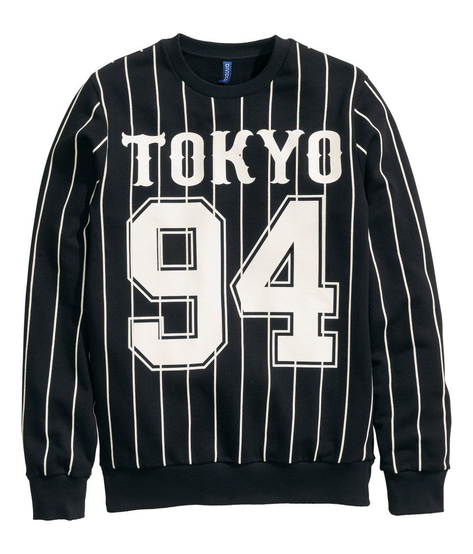 c65cf7248a2c Black & white long-sleeve sweatshirt with printed Tokyo design and brushed  lining.│ H&M Divided Guys