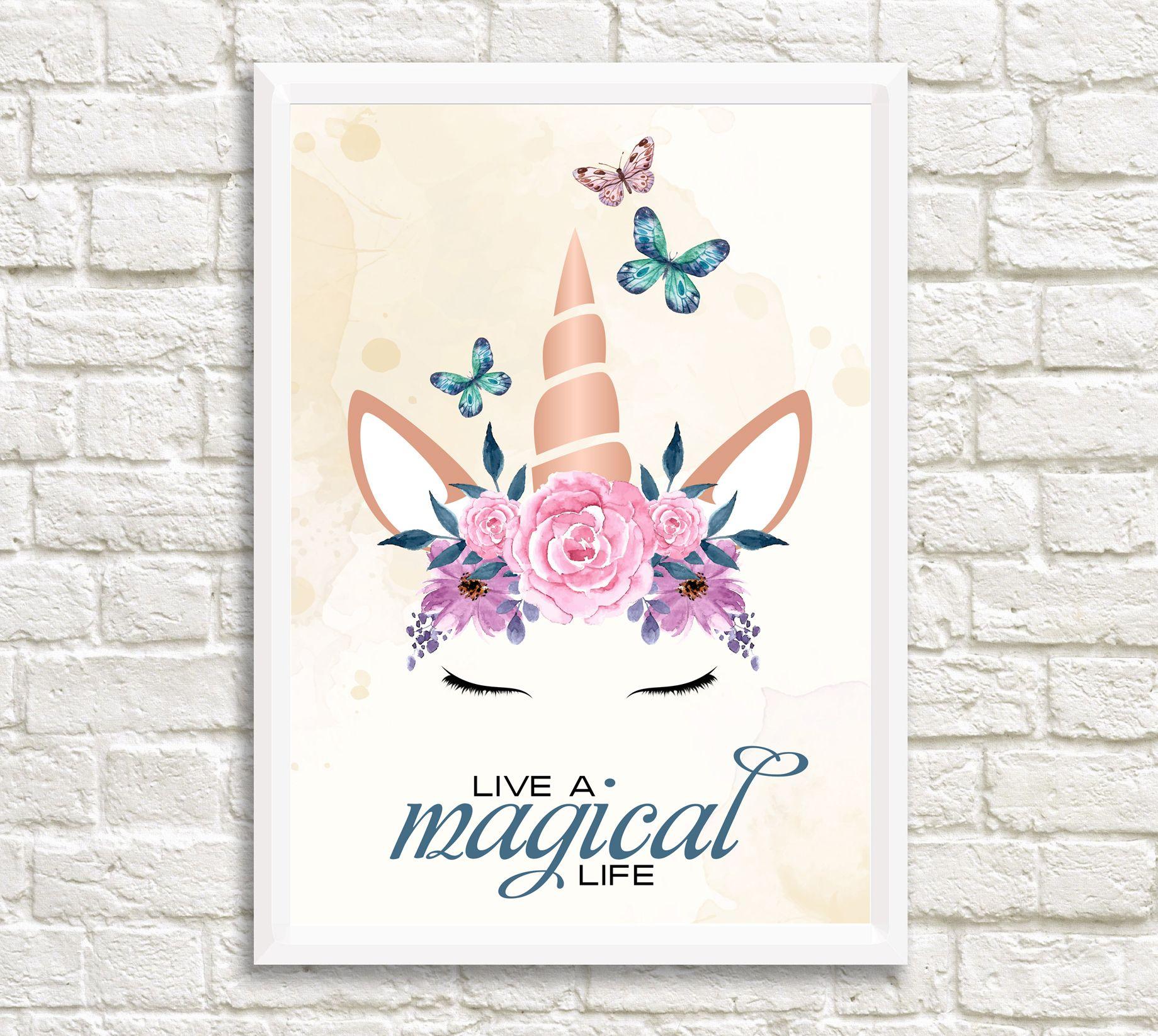 image about Unicorn Eyelashes Printable referred to as Unicorn Wall Artwork, Printable Unicorn Artwork, Floral Unicorn Artwork