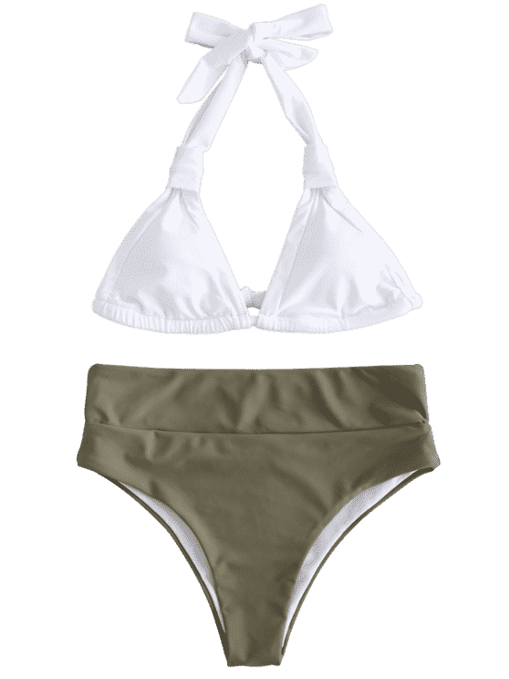 fa8553c0a7 Halter Color Block High Leg Bikini Set | Zaful Trendy Fashion ...