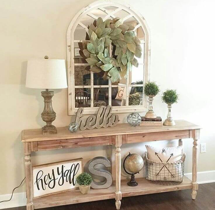 50 Stunning Farmhouse Furniture And Decor Ideas To Turn Your Home Into A Rustic Getaway Spot Hallway Table Decor Foyer Table Decor Entryway Table Decor