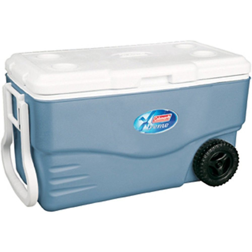 Wheeled Ice Chest Cooler 100 Quart Blue Plastic Portable Outdoor Beverage Box Coleman Cooler With Wheels Ice Chest Cooler Camping Coolers