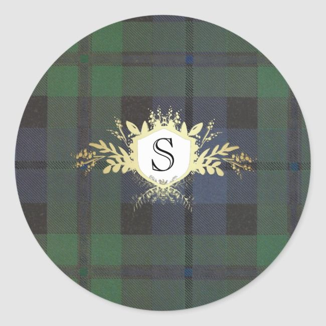 Monogram Crest on Tartan Plaid Classic Round Sticker #traditional #elegant #monogram #tartan #red #ClassicRoundSticker #plaid #tartan #pattern #invitation #invites #cards #custom #DIY