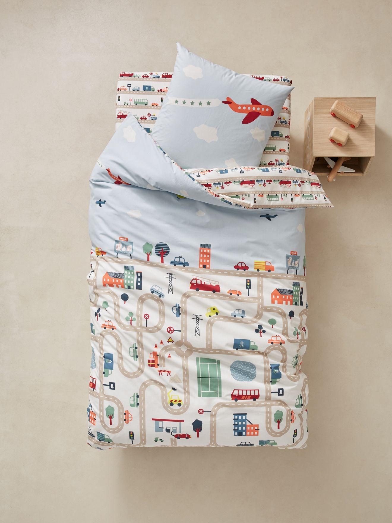 Vertbaudet Bettwäsche Set Für Kinder City In Beige Bedruckt