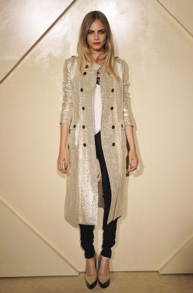 004a0a9cde04 Cara Delevingne wearing Burberry Prorsum Woven Wooden Wedge Pumps Burberry  Prorsum Metallic Jacquard Trench Coat