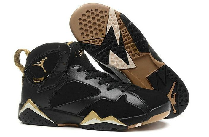 Authentic Air Jordan 7 Gold Medal Black Metallic Gold For WoOn Sale