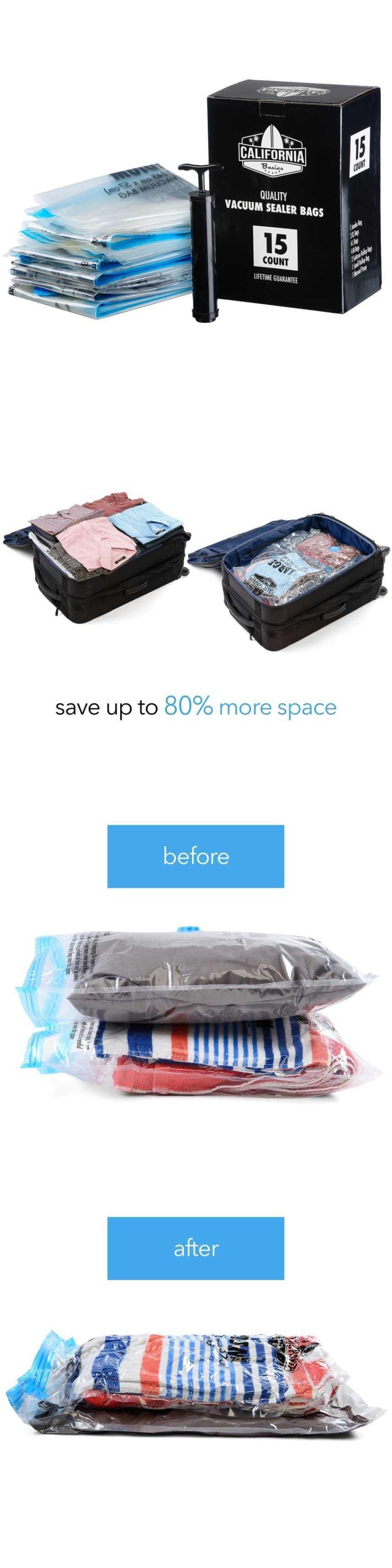 Storage Bags 43504 Space Saver Vacuum Bags Storage Seal 15 Pack Clothing Compressed Organizer Bag  sc 1 st  Pinterest & Storage Bags 43504: Space Saver Vacuum Bags Storage Seal 15 Pack ...