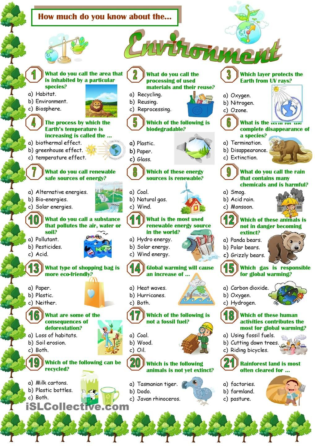 ESL English vocabulary printable worksheets Environment – Pollution Worksheets