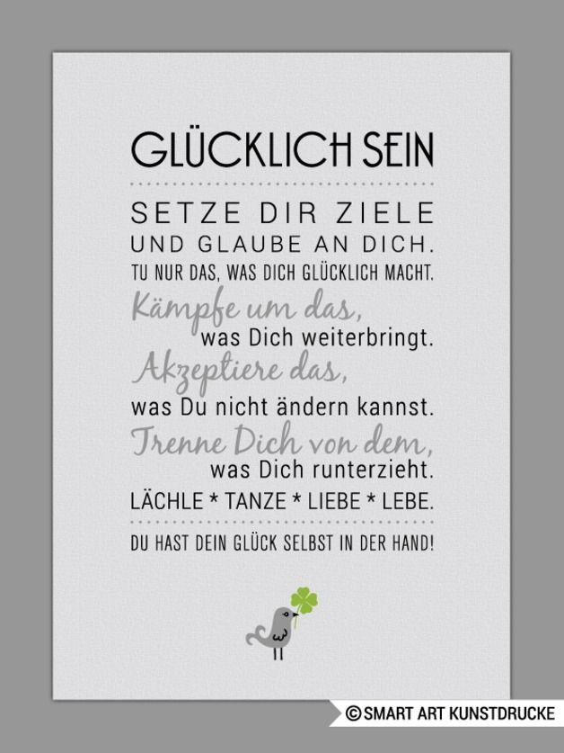 Originaldruck - GLÜCKLICH SEIN Kunstdruck - ein Designerstück von Smart-Art-Kunstdrucke bei DaWanda #kleeblattbasteln