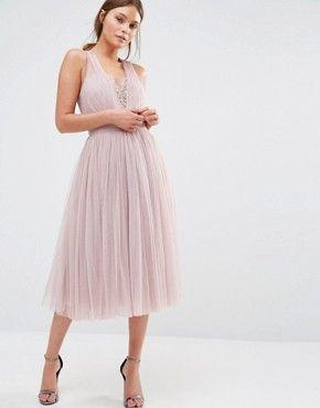 Little Mistress Embellished Midi Dress with Tulle Skirt  d7eaecf02