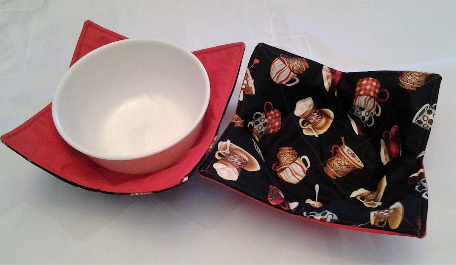 Microwave Bowl Cozy Pot Holder Hot Pad Kitchen Textiles Linens Coffee Cup Print Red Black Brown by CaliSistersCreate on Etsy