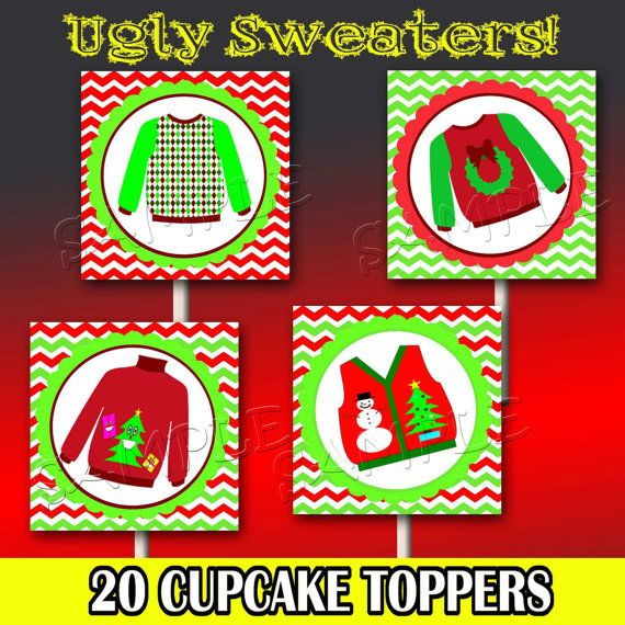 Ugly Sweater Party Cupcake Toppers Tacky by M2MPartyDesigns