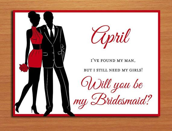 Will you be my bridesmaid red semi formal silhouette set of 3 will you be my bridesmaid red semi formal silhouette set of 3 customized printable stopboris Choice Image