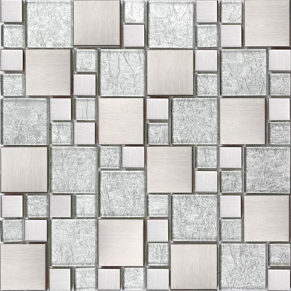 Silver glass brushed stainless steel mosaic tiles random modular silver glass brushed stainless steel mosaic tiles random modular sheet mt0048 dailygadgetfo Image collections