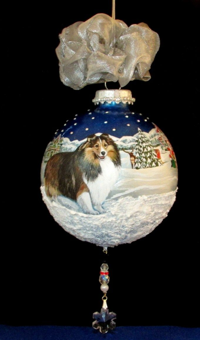 Sheltie Christmas ornament hand painted 360 painting goes ...