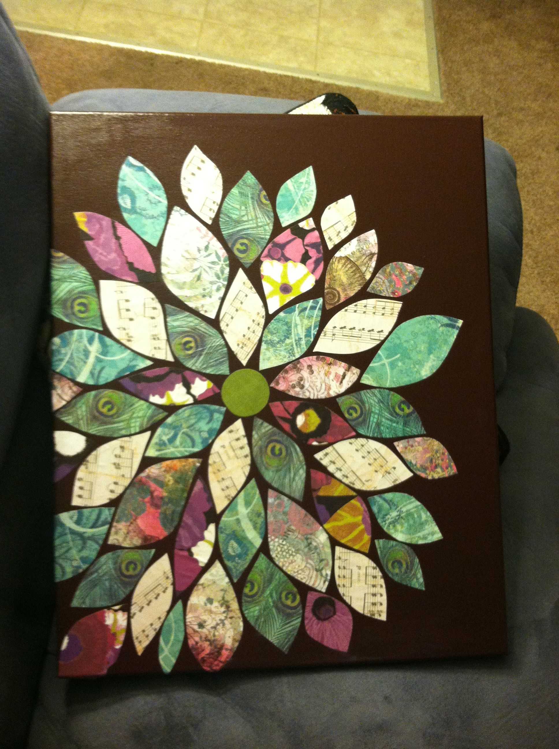 Scrapbook paper art projects - Scrapbook Paper Large Canvas And Acrylic Paint Making Flower Wall Art