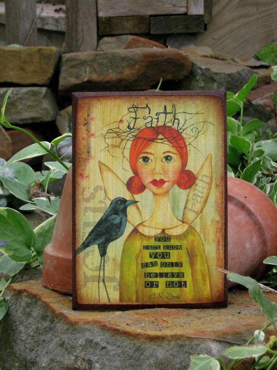 Green Faith Angel postcard by WingAndaPrayerArt on Etsy