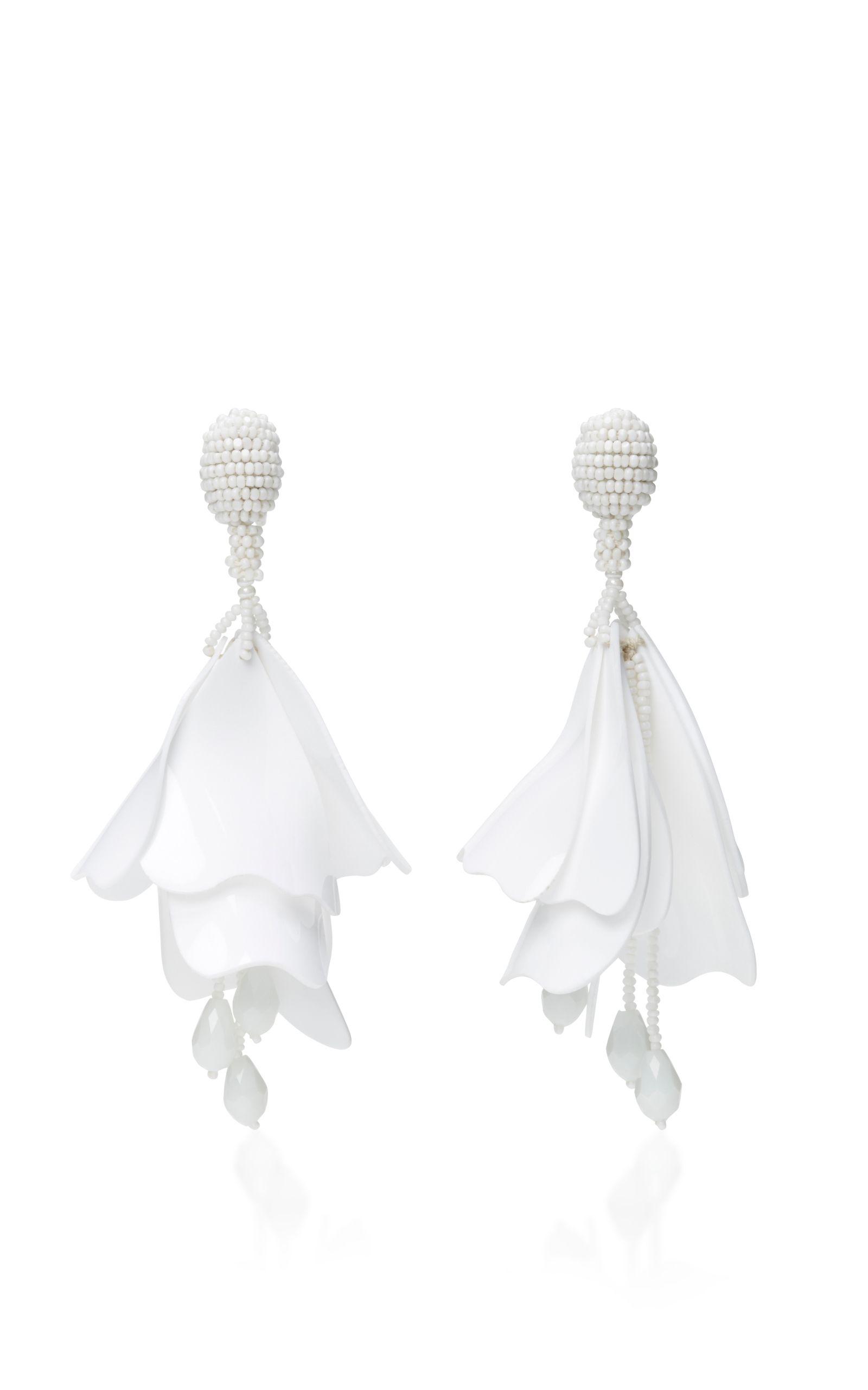 OSCAR DE LA RENTA Impatiens Flower Drop Earrings. #oscardelarenta #earrings