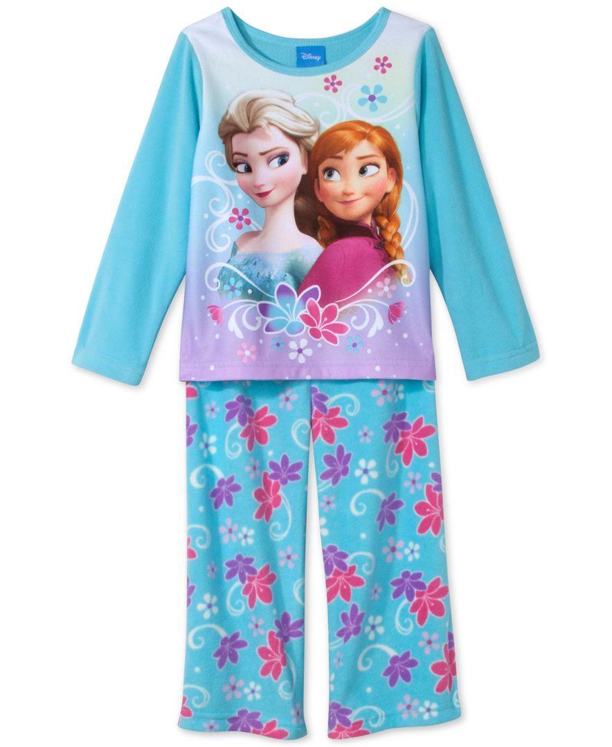 Frozen Girls' or Little Girls' 2-Piece Anna & Elsa Pajamas | Girls ...