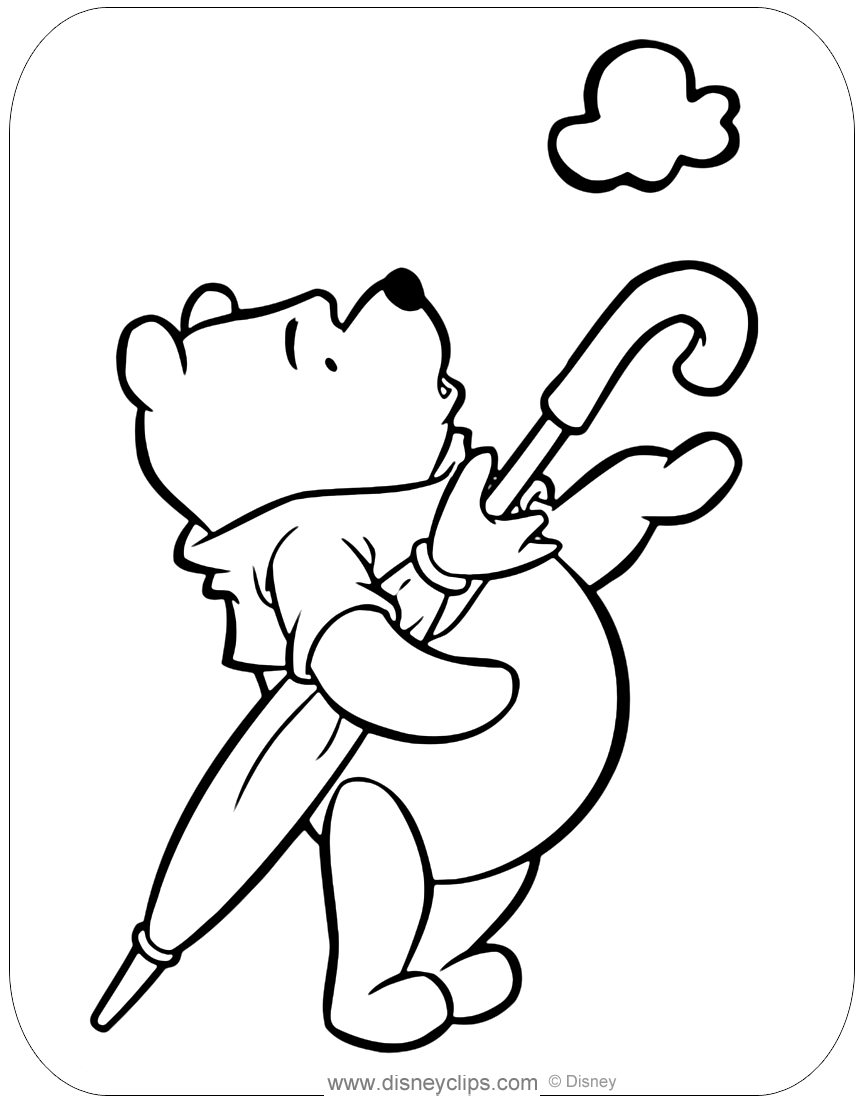 Coloring page of Winnie the Pooh waiting for rain #