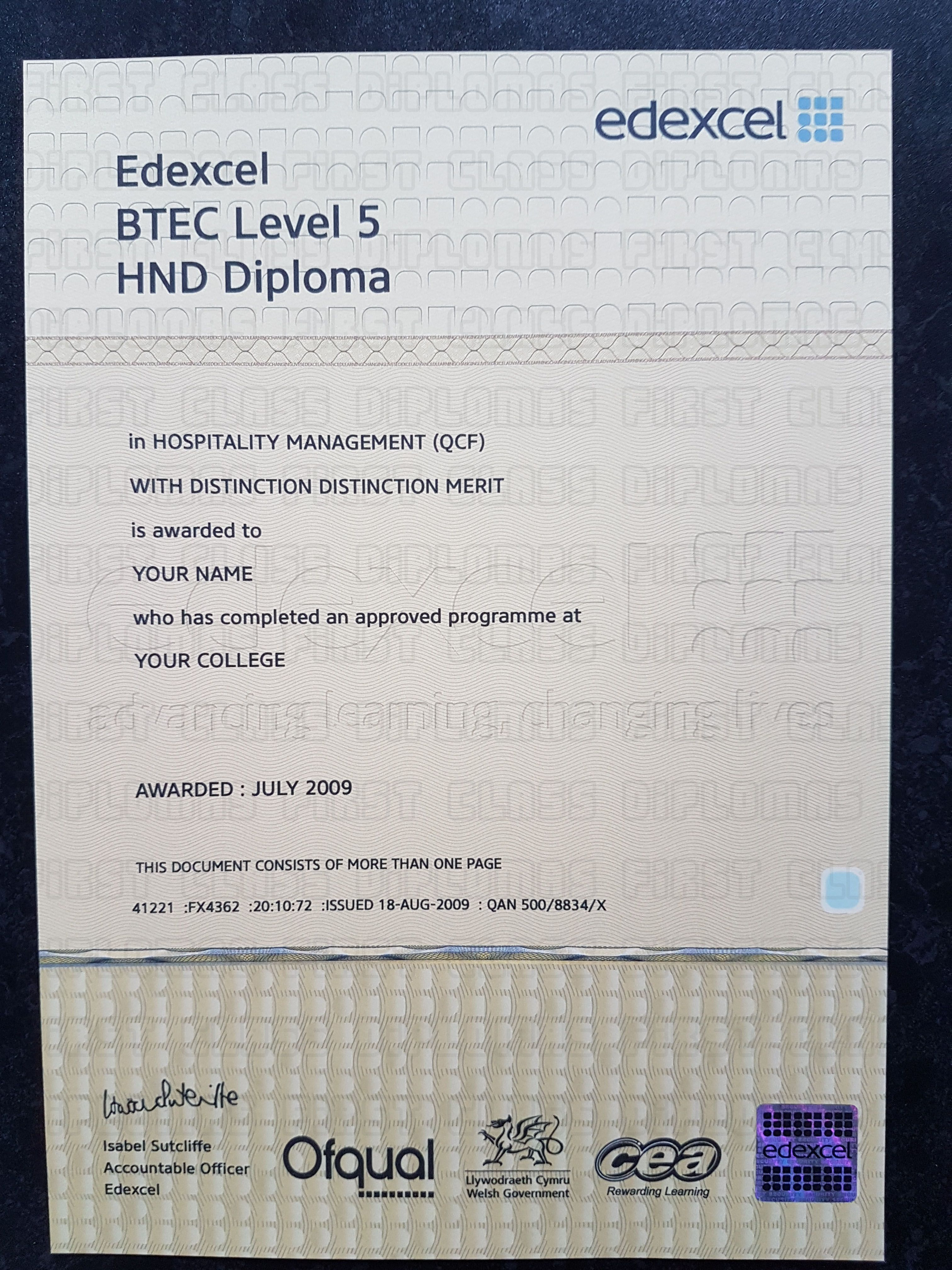 Realistic Btec Hnd Hnc Oc Nc Certificate Templatesold And New