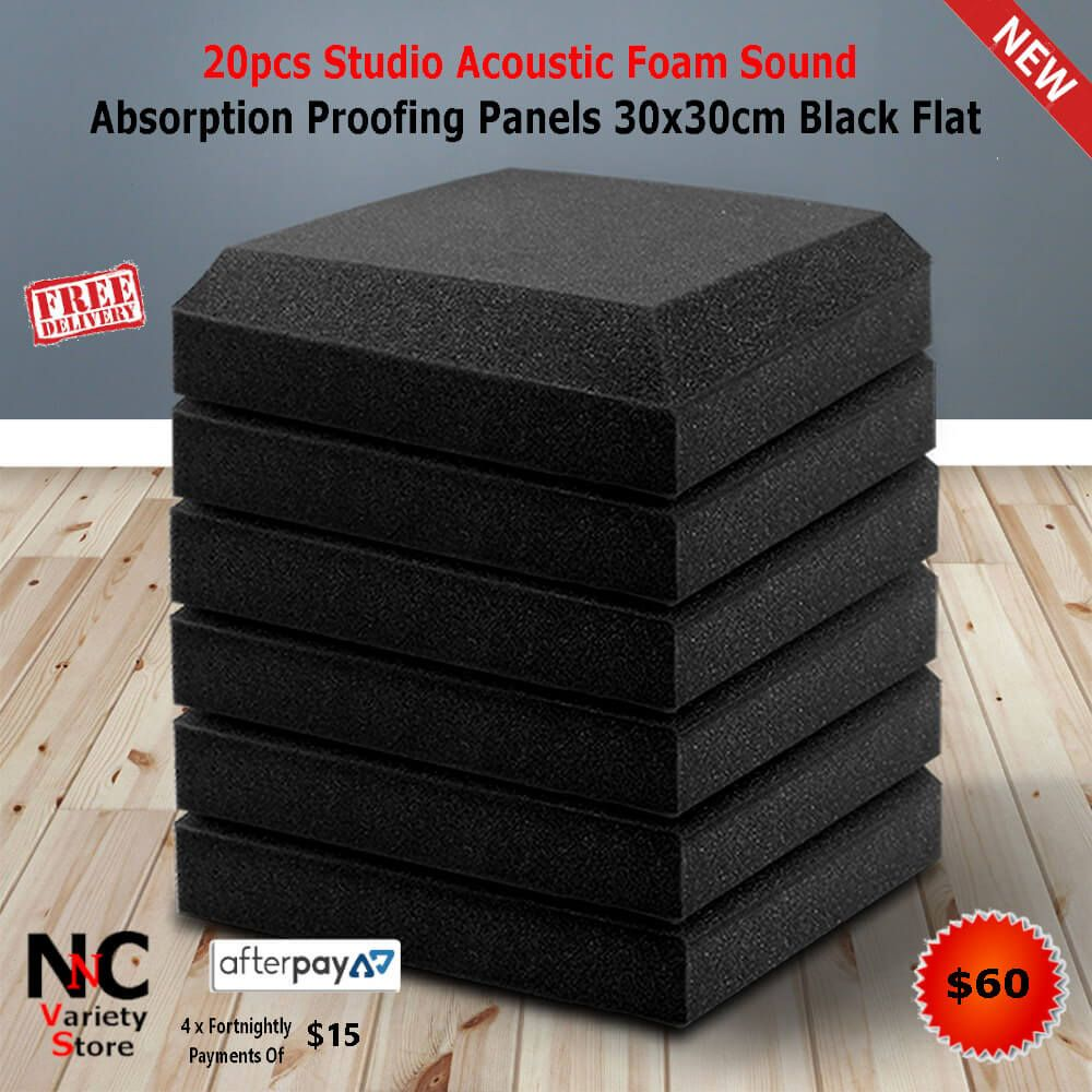 20pcs Studio Acoustic Foam Sound Absorption Proofing Panels 30x30cm Black Flat In 2020 Sound Proofing Foam Black