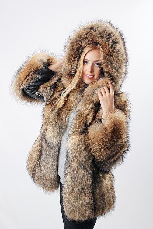 ecb3a36a93c2 Fur Jacket Women - Hodded Raccon Coat - Winter Coats for women ...
