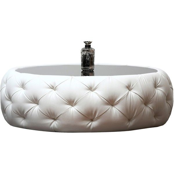 Roseville Round Leather Coffee Table ($579) ❤ liked on Polyvore featuring home, furniture, tables, accent tables, coffee tables, white, round leather table, round leather coffee table, white leather furniture and circular table