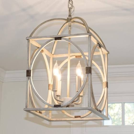 Large Wooden Orb Pendant Lantern Chandelier
