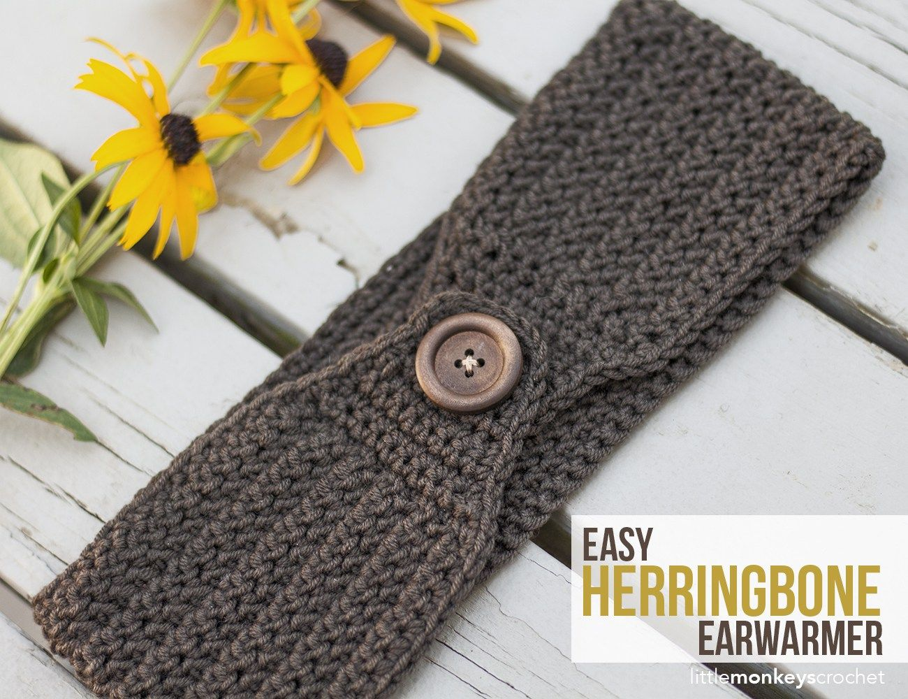 Easy Herringbone Earwarmer | Free buttons, Herringbone and Monkey