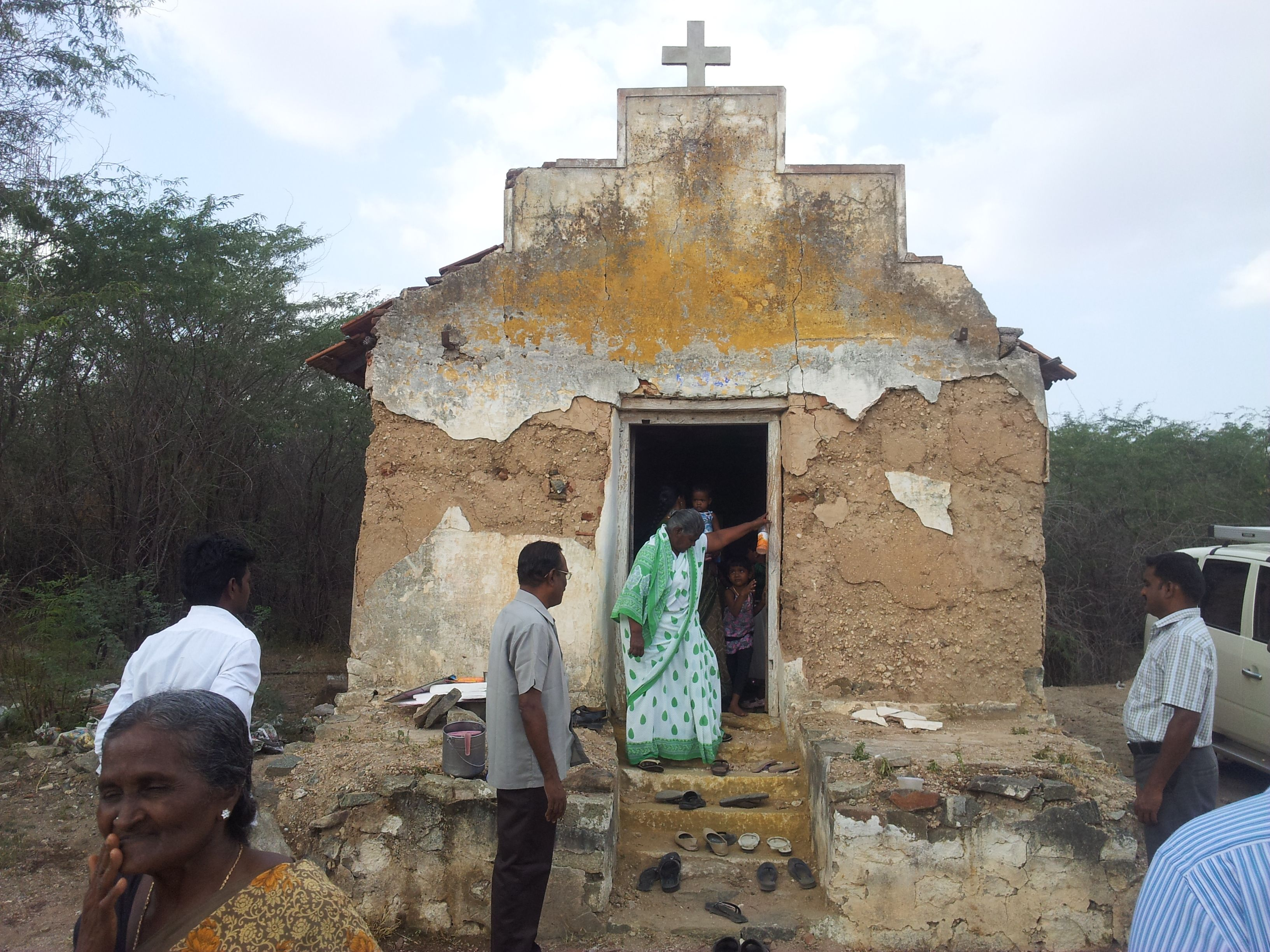 The only remains of the deserted colony is this Church. This is where those who lost their land gather for hope.