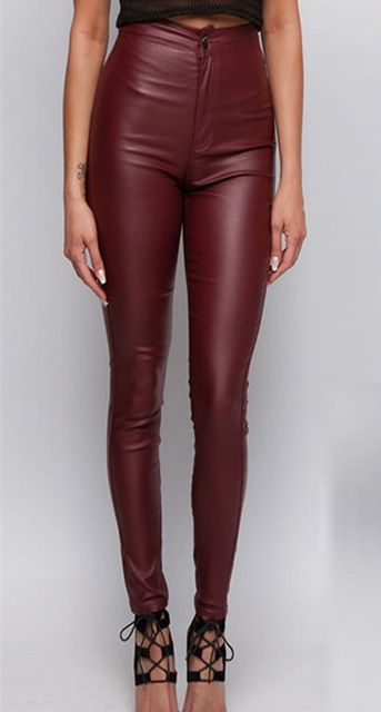 High waisted wine red faux leather locomotive jeans plus size tight skinny  leather pants full length fashion slim leather jeans 08be5570b88f