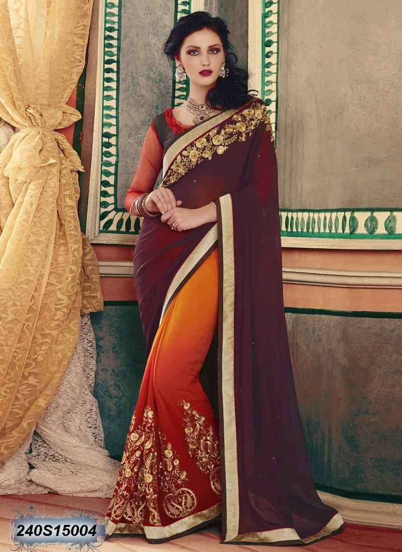 4b99755698ada Buy affluent red   orange colored faux georgette saree online with blouse    petticoat from Leemboodi Fashion India. Latest party wear sarees online for  ...