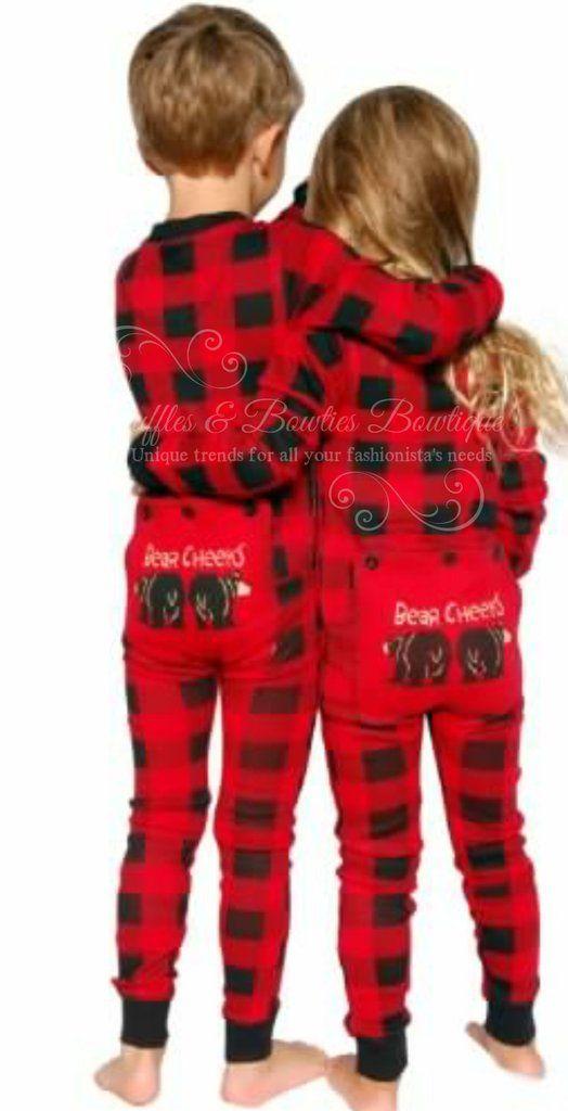PRE ORDER - Lazy One Youth & Adult Buffalo Plaid BEAR CHEEKS Flapjack Matching Christmas Pj's - Ruffles & Bowties Bowtique - 6