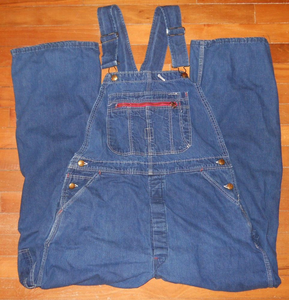 60c8e567da5 Mens Vintage Red Camel Sanforized Bib Blue Denim Jean Overalls Actual 37
