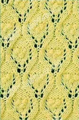 1001 узор узоры спицами листья и шишечки узор 6 вяз узоры
