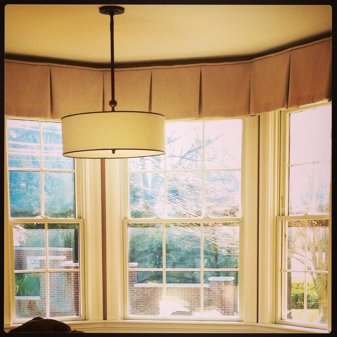 Bay Window Valances: Tailored Kick Pleat Valance On A Bay Window For Sussan
