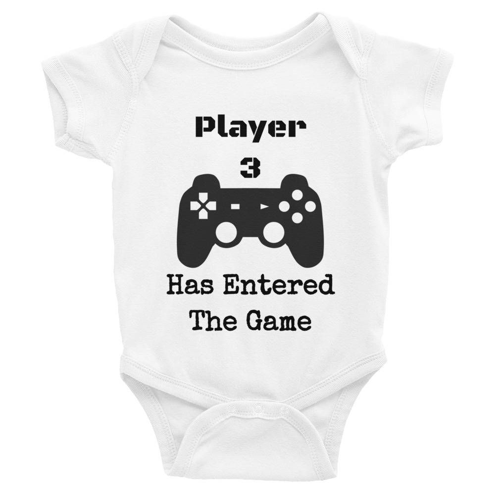 30cccb3b9 PLAYER 3 Has Entered The Game Funny Cute Baby Onesie New Player Play  Station Infant Nerdy Bodysuit