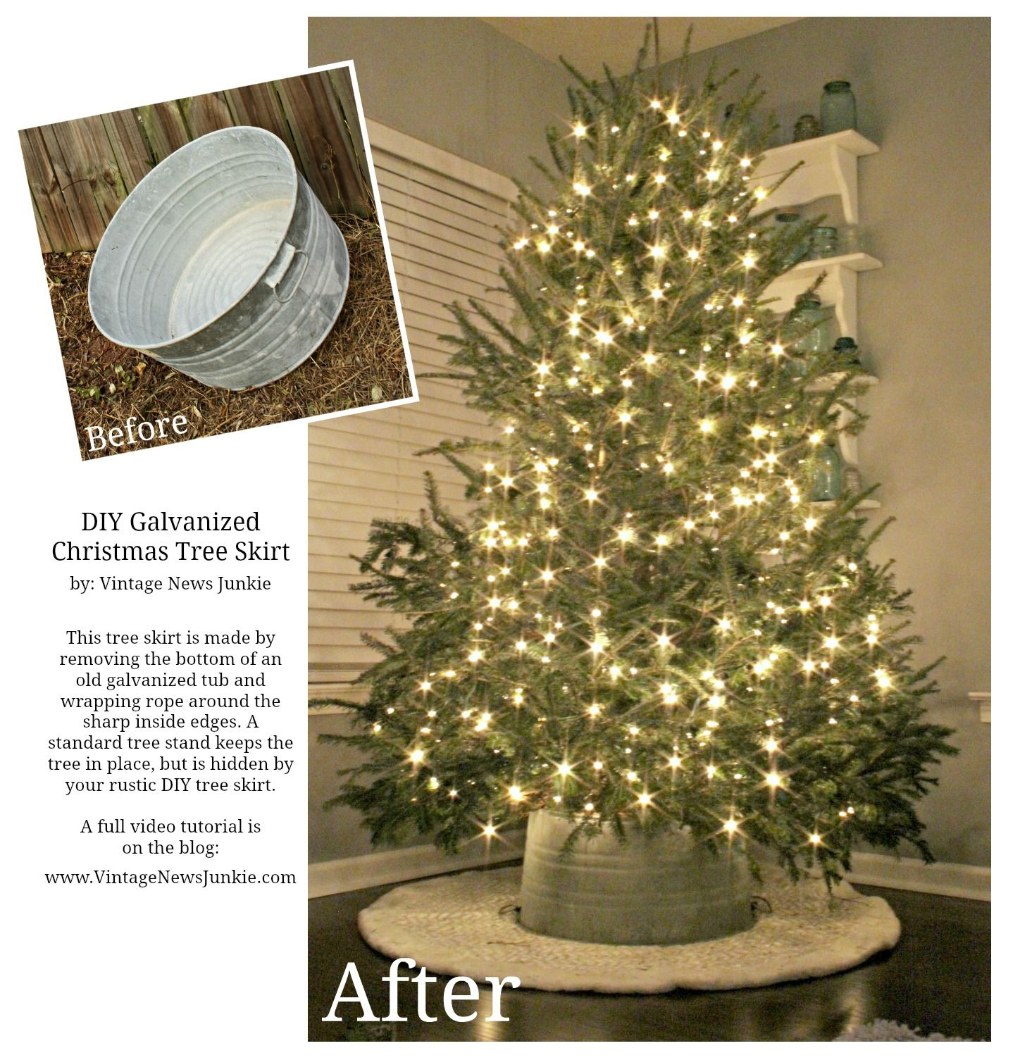 how to make a tree skirt out of a galvanized tub crate barrel inspired - Rustic Christmas Tree Skirt