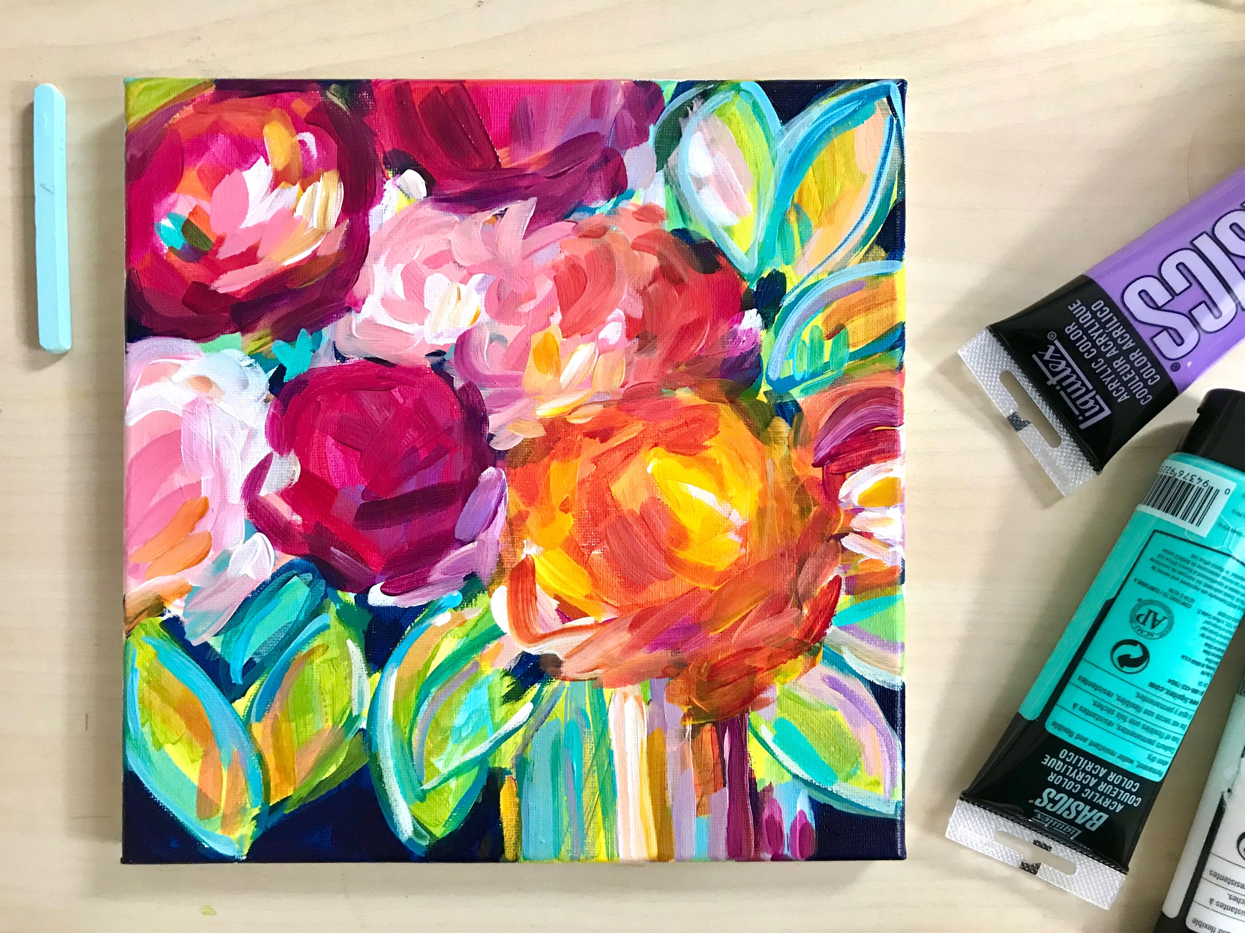 Paint Easy Abstract Flowers With Acrylic Paint On Canvas Tutorial Painting Tutorial Painting Acrylic Painting Canvas