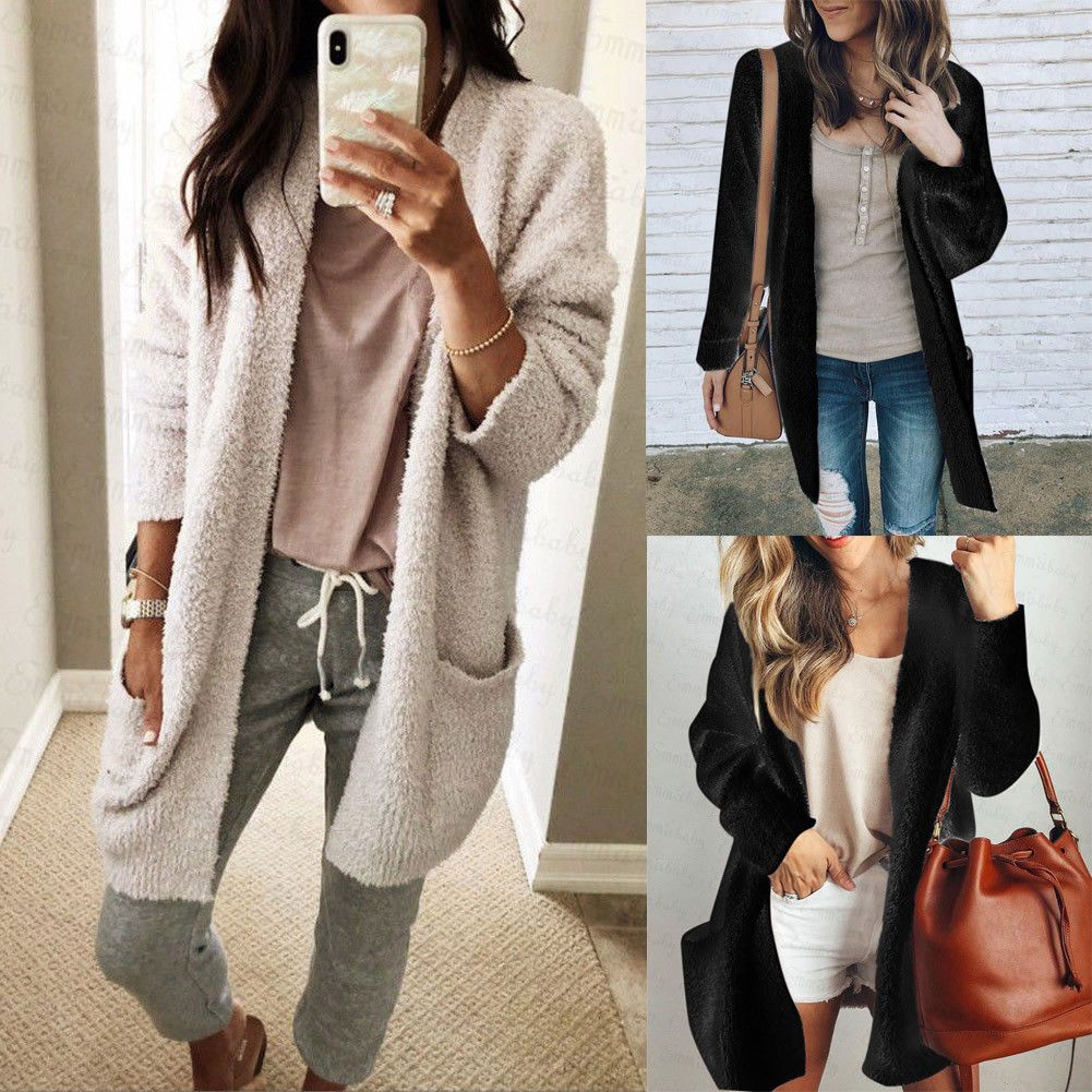 Womens Ladies Baggy Cardigan Coat Tops Chunky Knitted Oversized