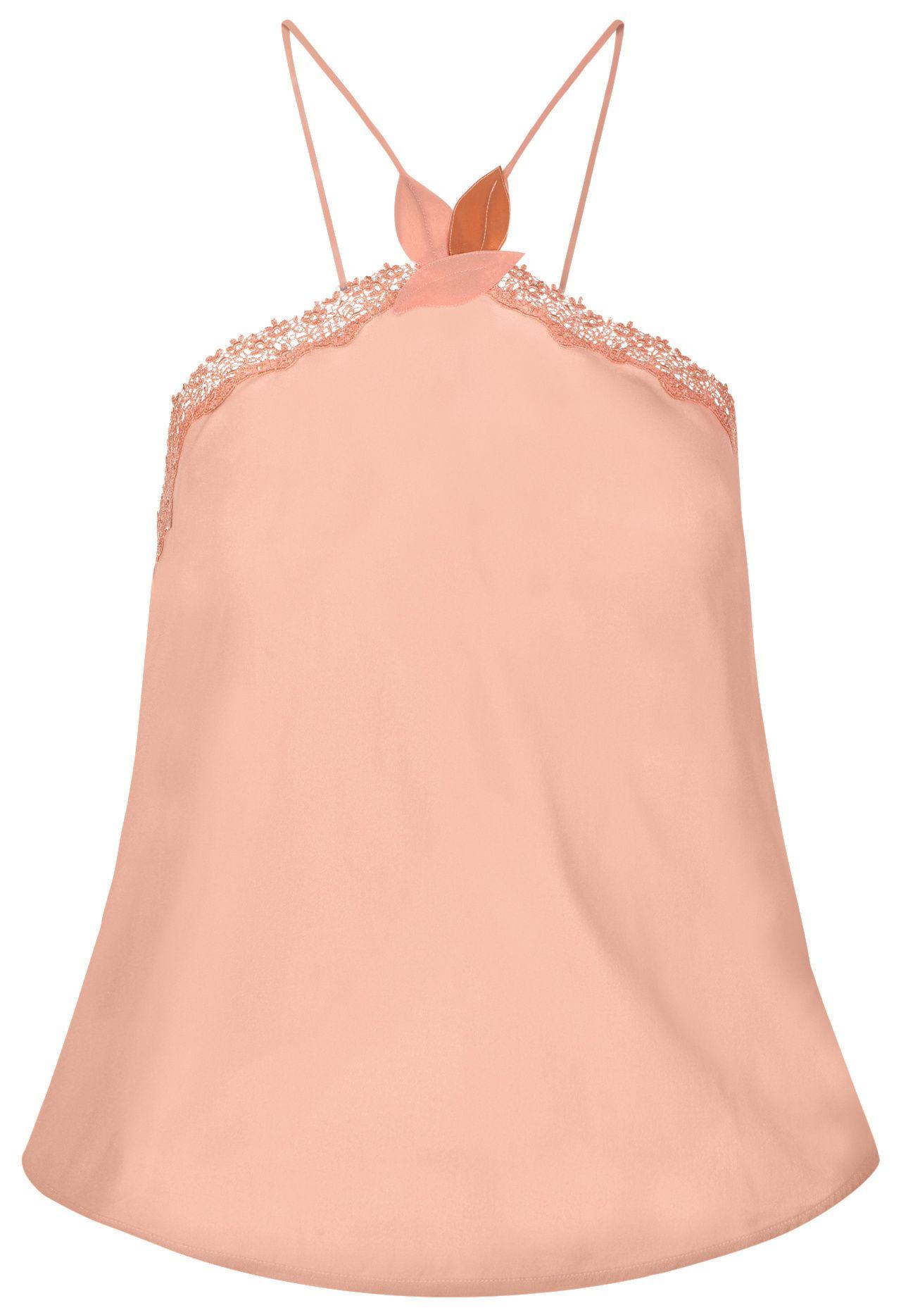 4dd0ebf8d Nude silk georgette halterneck camisole with macramè trim -  CFIPLM0008750 RAG269