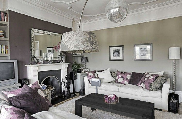 home decor grey and purple bedroom ideas beautiful living room | Tones of purple with silver and white from desiretoinspire ...