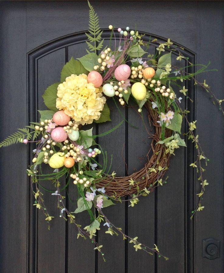 Photo of Spring Wreath Easter Egg Wreath Summer Wreath Grapevine Door Wreath Decor Yellow…,  #Decor …