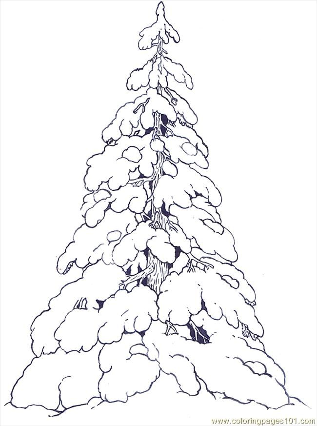 Free Printable Coloring Image Snow Covered Evergreens Reversed
