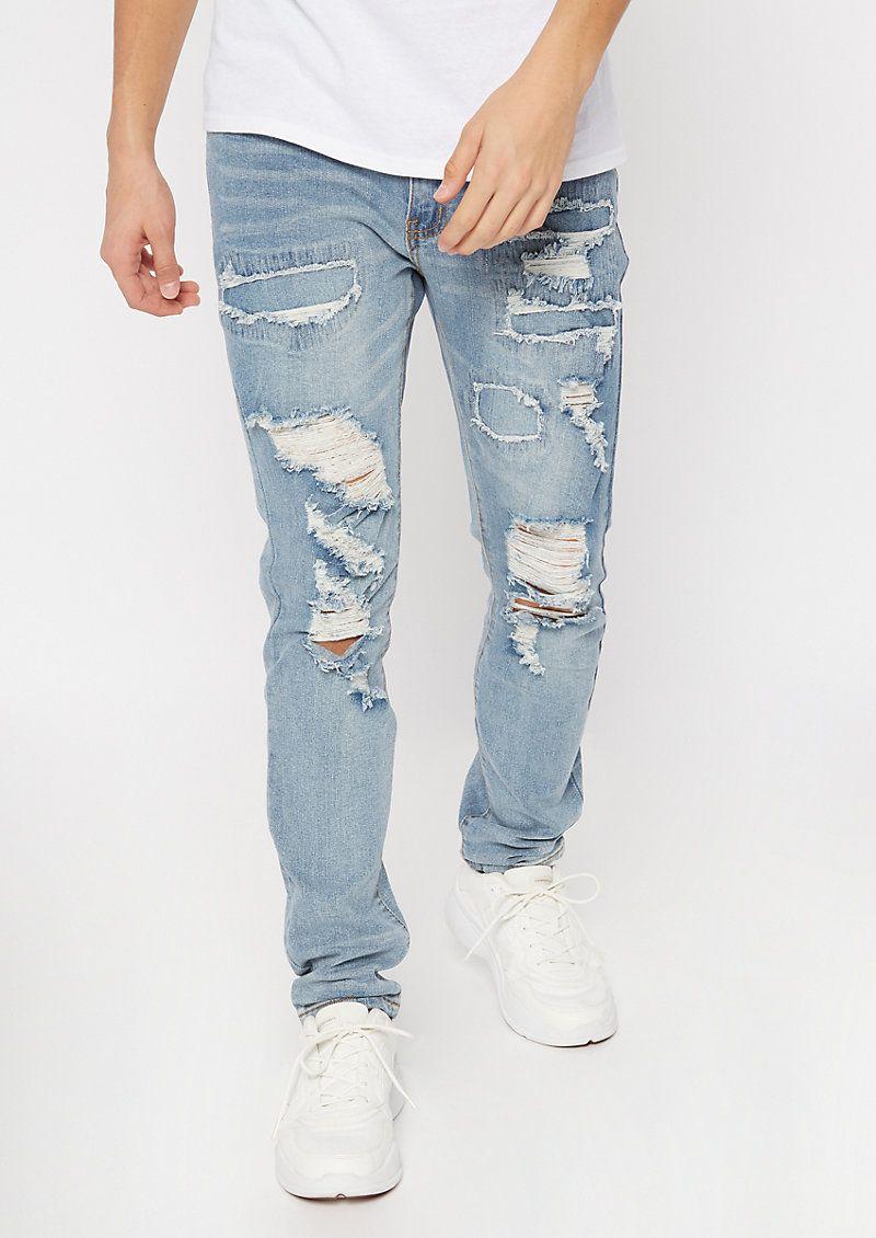 Supreme Flex Medium Wash Rip Repair Skinny Jeans in 2020