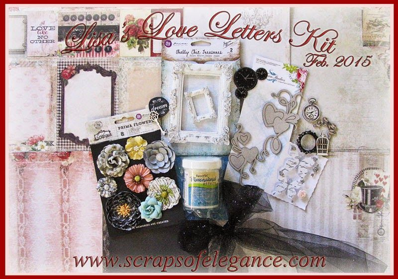 Scraps of Elegance scrapbook kits - February 2015 - Lisa's Love Letters Kit , featuring Blue Fern Studios' Love Story, Marion Smith Designs' Romance Novel 2, and Prima Epiphany collections, and so much more! www.scrapsofdarkness.com