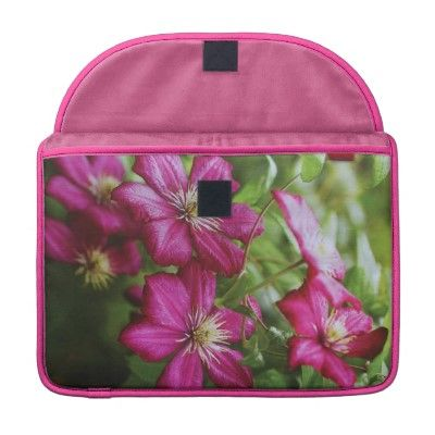 Fuschia flowers flap sleeves for Macbooks.