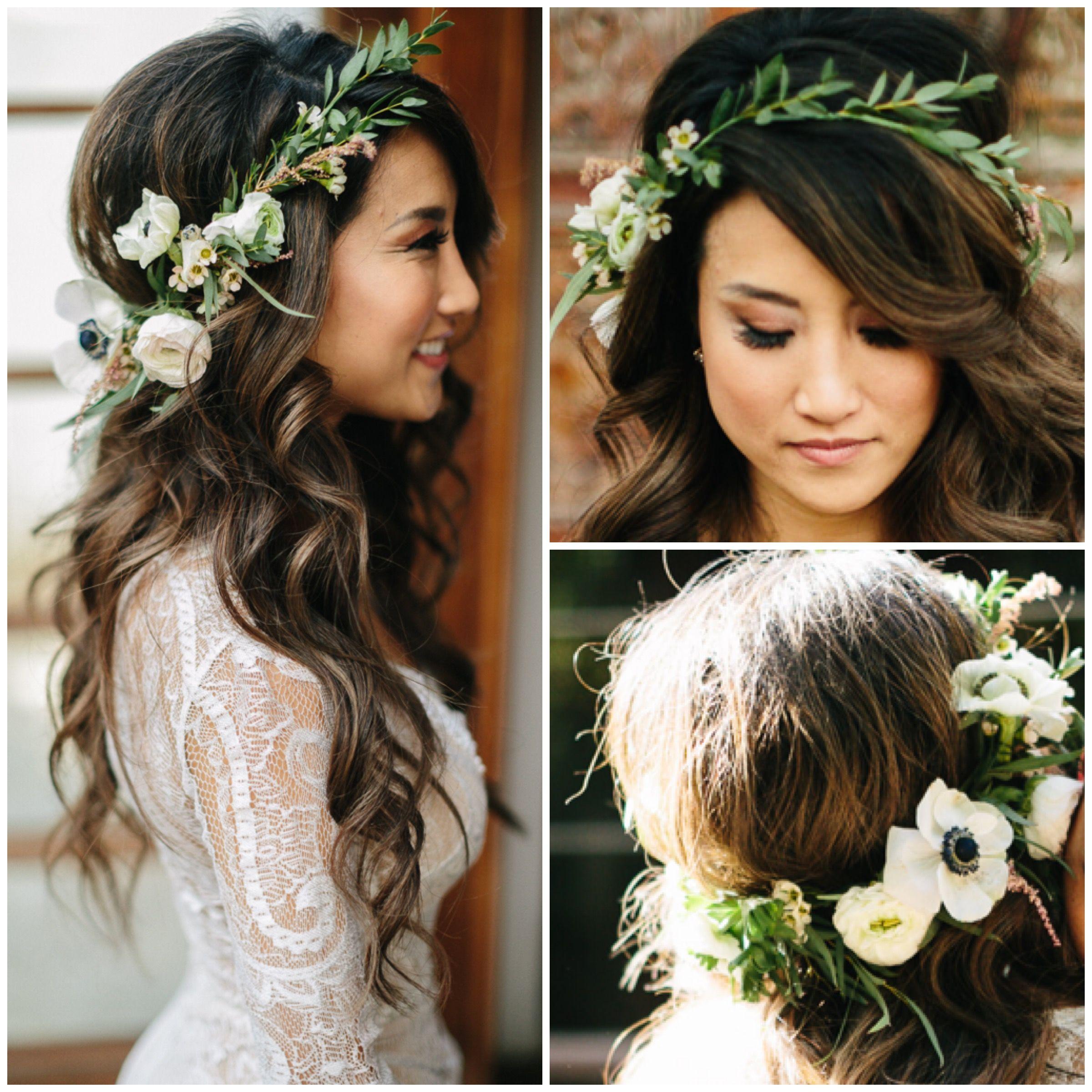 corona floral completa de pelo de boda boho  – Boda